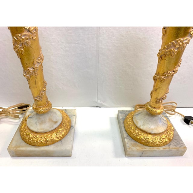1950s Vintage French Empire Gold Dore Marble Table Lamps- a Pair For Sale - Image 4 of 11