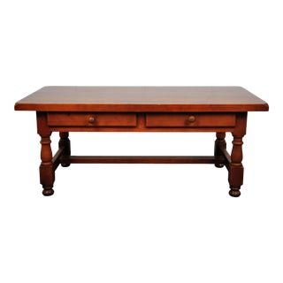 1930's French Country Style Cherry Wood Coffee Table with Two Drawers For Sale