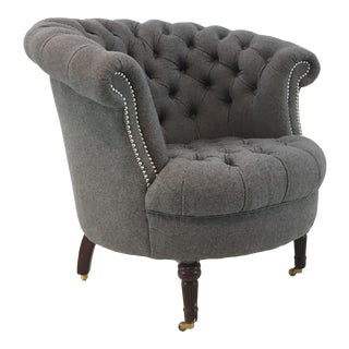 Regina Andrew Modern Tufted Gray Wool Tub Chair For Sale