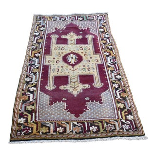 Vintage Turkish Hand Knotted Oushak Anatolian Rug For Sale