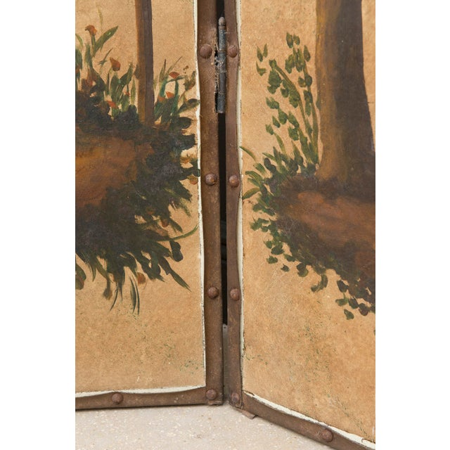 Vintage Chinoiserie Four-Panel Painted Screen on Board For Sale - Image 4 of 11