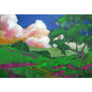 "California Oak Tree Hills Plein Air Landscape Lynne French Oil Painting - 5x7"" For Sale"