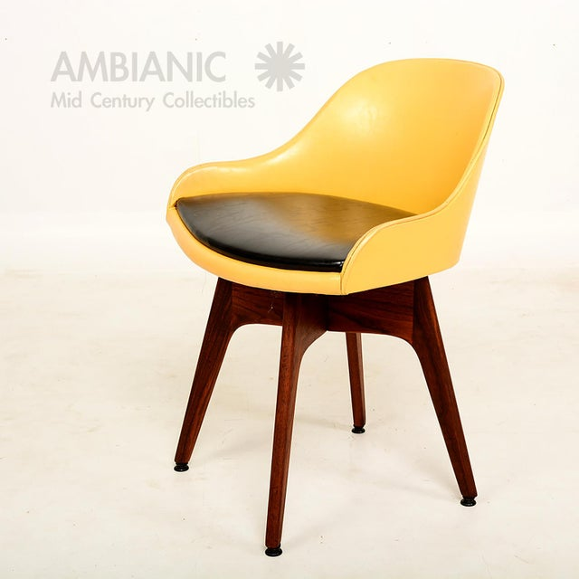 Wood Mid-Century Danish Modern Walnut Revolving Chair For Sale - Image 7 of 10