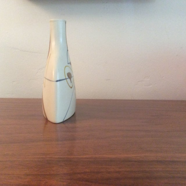 Asian Mid-Century Japanese Vase With Hand Painted Geometric Design For Sale - Image 3 of 6