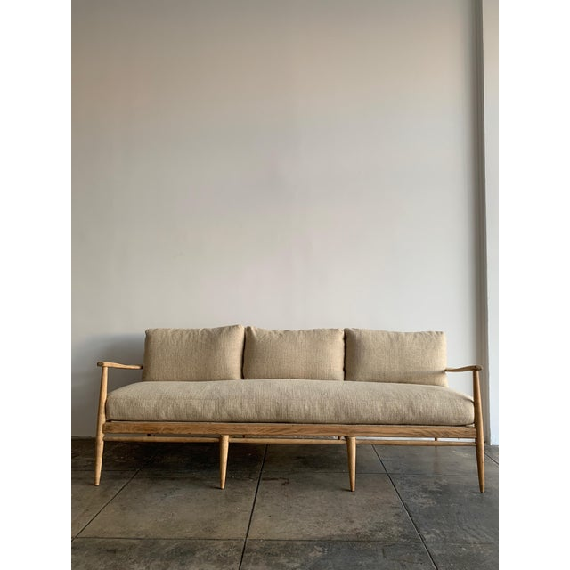 MCM Danish Wood and Woven Cane Couch For Sale - Image 10 of 10