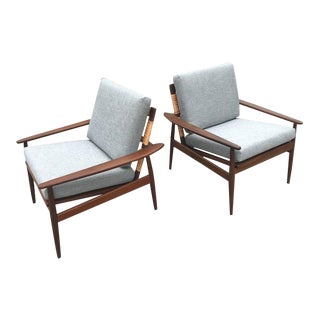 1950s Danish Modern Hans Olsen for Juul Kristensen Caned Lounge Chairs - a Pair