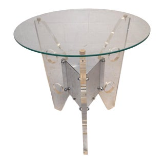 Vintage Modern Lucite and Chrome End Table After Charles Hollis Jones For Sale