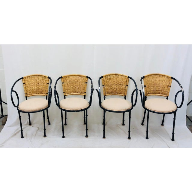 Mid 20th Century Vintage Metal & Wicker Bistro Chairs For Sale - Image 5 of 13