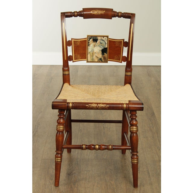 "Traditional Hitchcock Norman Rockwell ""Freedom of Worship"" Limited Edition Side Chair For Sale - Image 3 of 13"