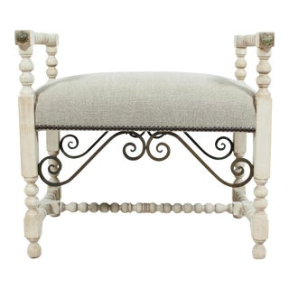 1930s Vintage Spanish Baroque Style Bench For Sale