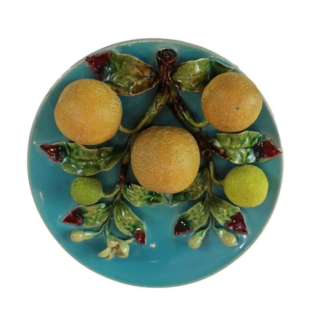Menton French Majolica Wall Plaque on Turquoise Ground With Oranges, Circa 1880 For Sale - Image 6 of 9