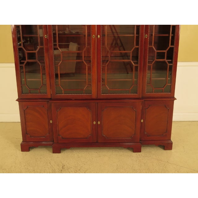 1990s Kindel Four Door Mahogany Breakfront China Cabinet For Sale - Image 5 of 13