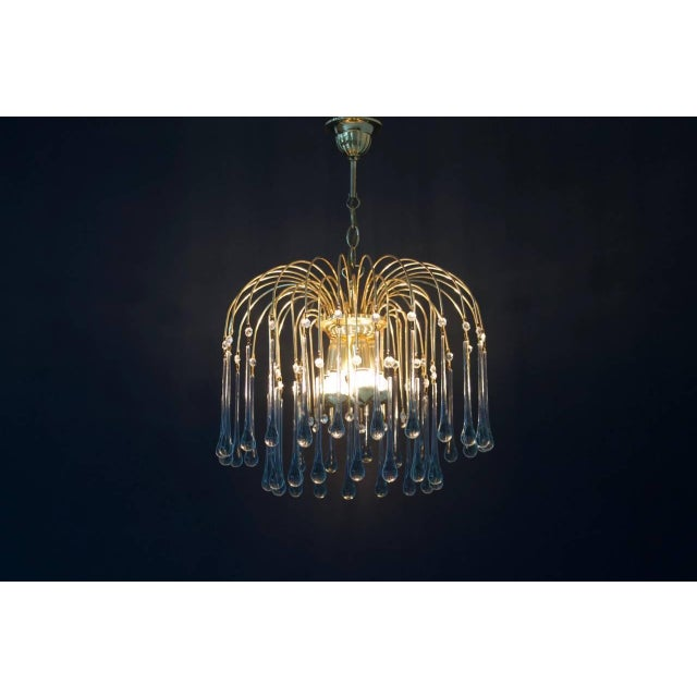 1970s Christoph Palme Waterfall Chandelier Brass and Glass, Germany, 1970s For Sale - Image 5 of 10