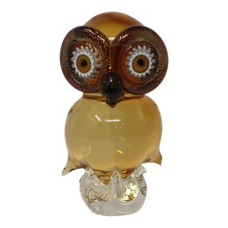 Oscar Zanetti Amber Murano Glass Owl For Sale