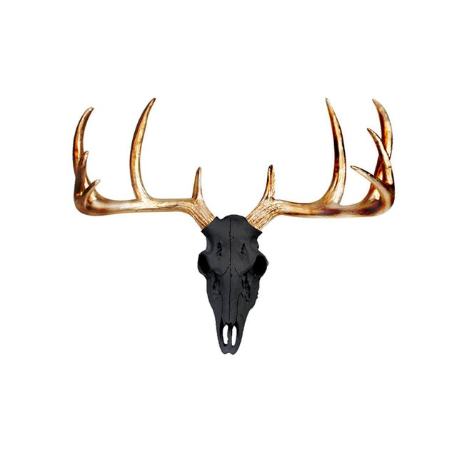 Boho Chic Black & Metallic Gold Faux Antlers Mini Deer Skull by Wall Charmers For Sale - Image 3 of 3