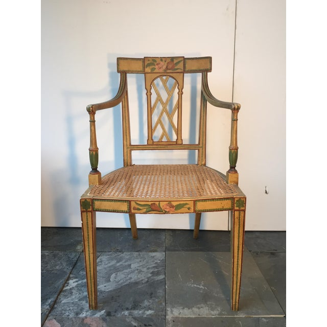 English 19th Century English Floral Painted Armchair For Sale - Image 3 of 6