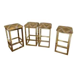 Mid Century Modern Aluminum Gold Counter Stools - Set of 4 For Sale