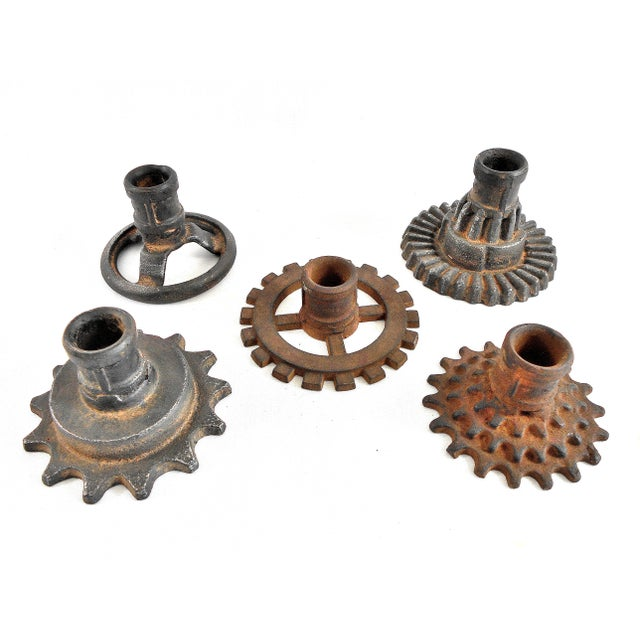 Vintage Factory Gears Candle Holders - Set of 5 - Image 4 of 10