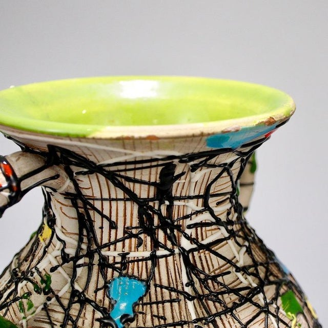 Green Mid-Century Fratelli Fanciullacci Italian Art Pottery Vase With Handles For Sale - Image 8 of 8