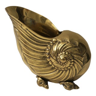 Vintage Nautilus Form Brass Cachepot For Sale
