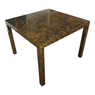 Vintage Marbleized Burl - Tortoise Shell Square Parsons Table
