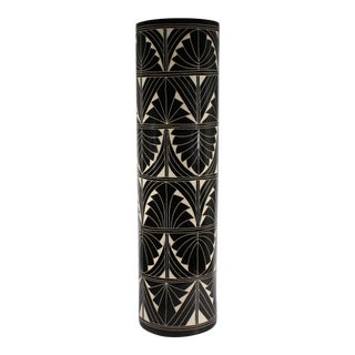Curras Brothers 1992 Ceramic Black and White Floor Vase Umbrella Stand For Sale