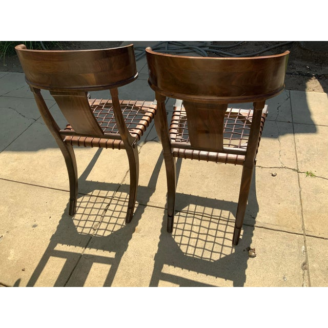 Brown Klismos Walnut Chairs - a Pair For Sale - Image 8 of 10