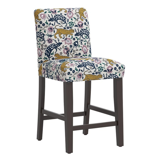 Purple Leopard Mustard Plum Fabric Counter Stool For Sale - Image 8 of 8