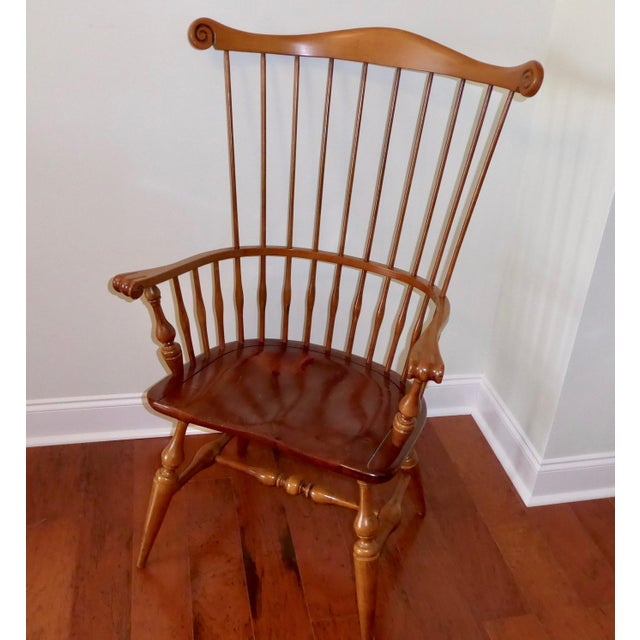 Ethan Allen Windsor High Back Arm Chair - Image 2 of 10