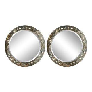 Large Round Bullseye Etched With Distressed Panel Art Deco Beveled Mirrors, Pair For Sale