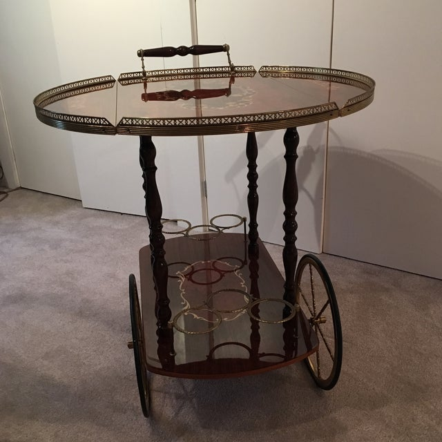 Genuine Italian Marquetry Drop Leaf Beverage Cart - Image 8 of 11