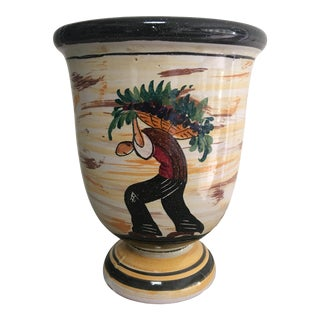 Mid-Century Italian Fratelli Fanciullacci Italian Pottery Footed Vase Cachepot For Sale