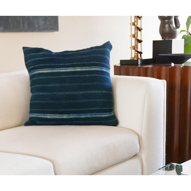 African Blue Striped Mudcloth Pillow For Sale - Image 4 of 5