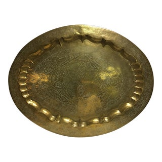 Vintage Morracan Brass Oval Etched Tray For Sale