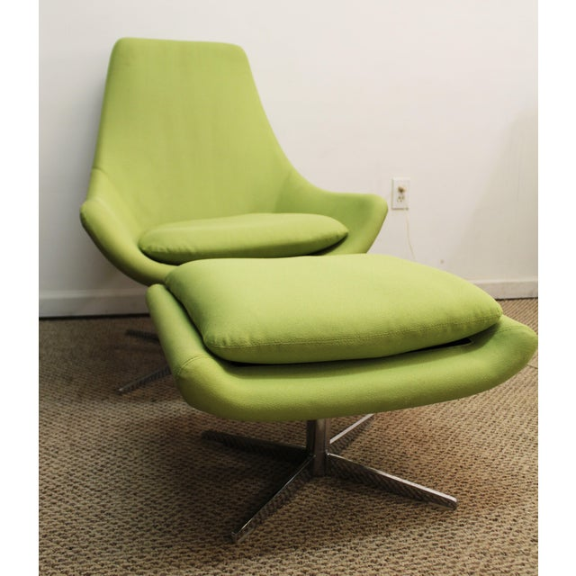 Mid-Century Lime Green Swivel Lounge Chair & Ottoman - Image 2 of 11