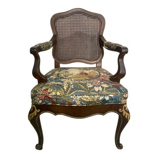 French Cane Back Upholstered Chair For Sale