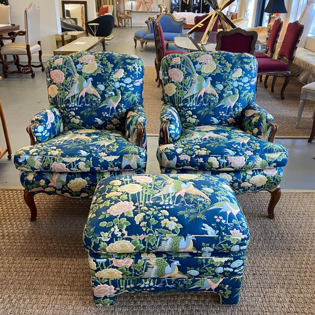 Vintage Quilted Chairs and Ottoman - Set of 3 For Sale - Image 10 of 10