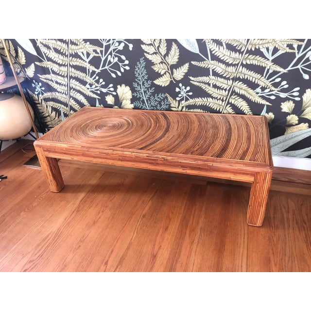 Vintage Split Reed Bamboo Coffee Table For Sale - Image 11 of 11