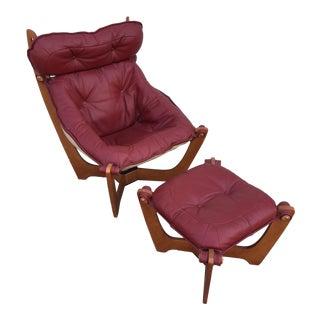 Modern Leather Sling Chair & Ottoman