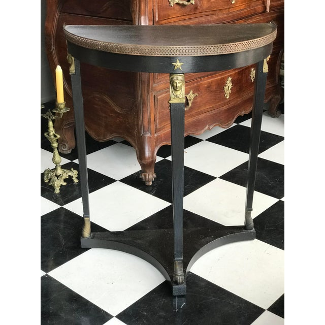 Gold 1920s French Empire Demi-Lune Table For Sale - Image 8 of 8