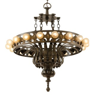 Enormous Bronze 18-light Classical Revival Chandelier Circa 1920