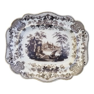 Victorian English Stoneware Transfer Serving Platter For Sale
