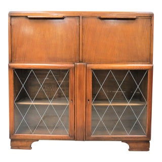 English Light Oak Double Drop Front Cocktail Cabinet and Secretary Desk For Sale
