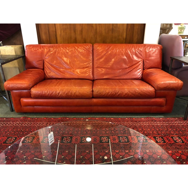 Red Roche Bobois Vintage Red Leather Sofa For Sale - Image 8 of 10