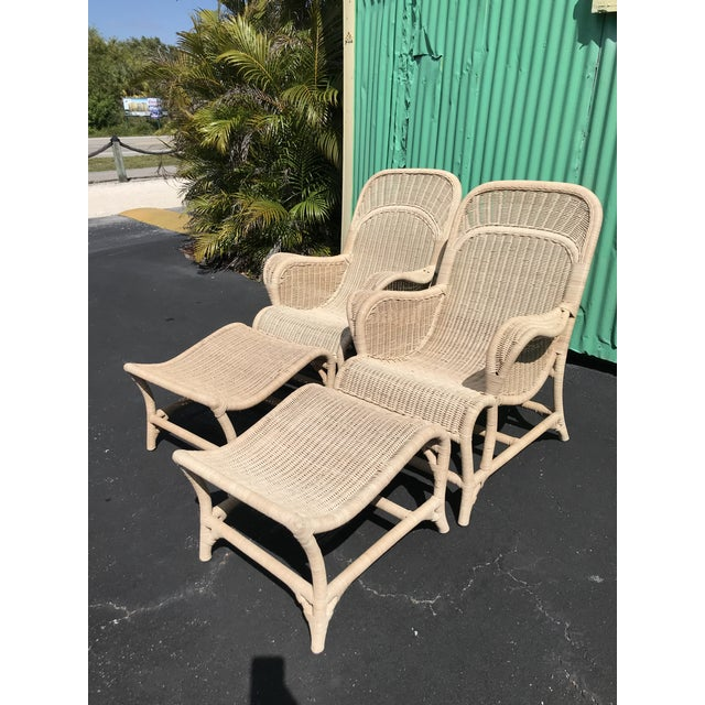 Vintage Coastal Wicker Sling Back Chairs and Ottomans-A Pair For Sale - Image 11 of 13