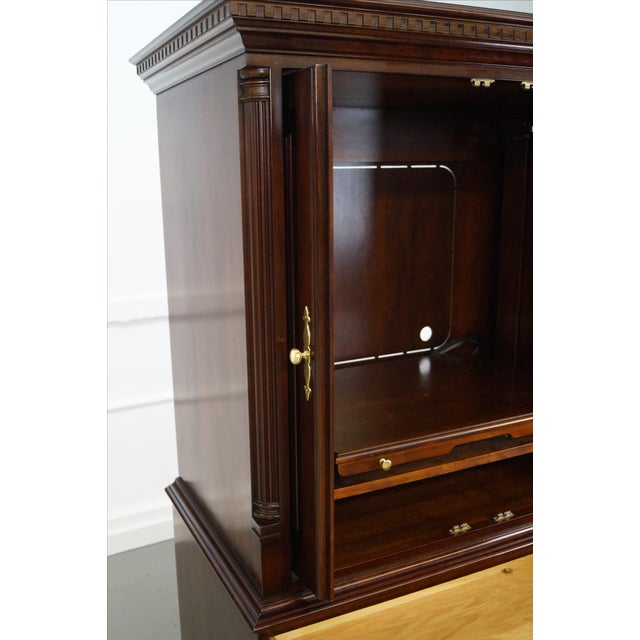 Statton Solid Cherry Chippendale Style TV Armoire | Chairish