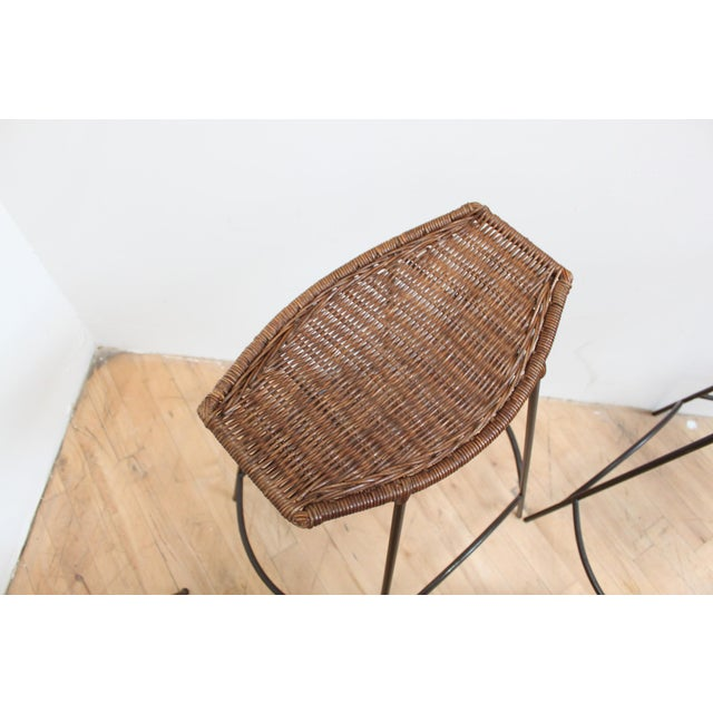 Contemporary Set of 4 Raymor Arthur Umanoff Wicker and Iron Counter Stools For Sale - Image 3 of 8