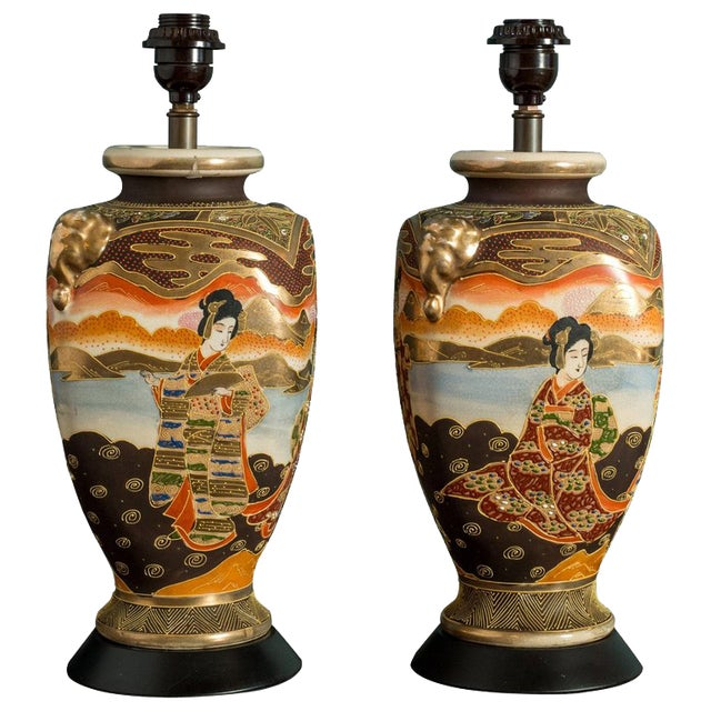 1900 - 1909 Pair of Japanese Satsuma Table Lamps For Sale - Image 5 of 5