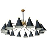 Image of Midcentury Style Brass Chandelier With Black Perforated Shades For Sale