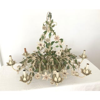Large Mid Century Italian Tole Chandelier Flowers, Green White Pink Preview